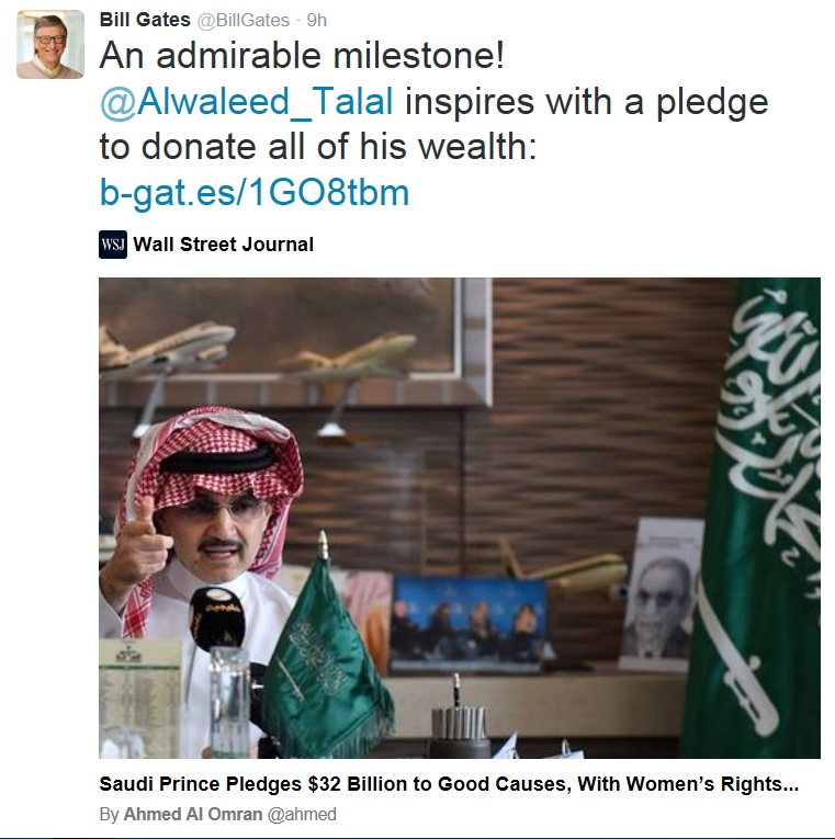 Bill Gates to Prince Alwaleed Talal on $32 Billion donation to good causes